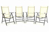 Garthen 40843 Sada čtyř zahradních polohovatelných židlí - krémová