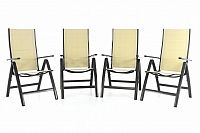 Garthen 40845 Sada čtyř zahradních skládacích židlí DELUXE - krémová