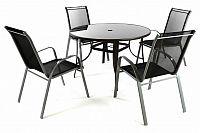 Garthen 41675 Zahradní set - 4 židle a stůl - černá