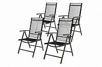 Garthen 46977 Zahradní sada 4 skládacích židlí - černá