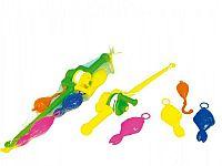 Hra ryby/rybář plast 3ks+prut 50cm asst 2 barvy v síťce