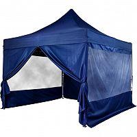 INSTENT 58599 Zahradní párty stan nůžkový 3x3 m + 4 boční stěny - modrá