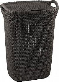 Koš na prádlo s víkem KNIT koš na prádlo 57L - hnědý CURVER