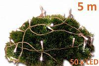 Nexos 2155 Vánoční LED osvětlení 5 m s časovým spínačem - teple bílé, 50 diod