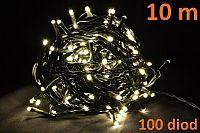 Vánoční LED osvětlení 10m - teple bílé, 100 diod D04266