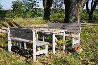 Zahradní dřevěná masivní lavice VIKING šedá - 150 cm WOOD
