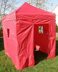 Zahradní párty stan DELUXE nůžkový + boční stěny - 2 x 2 m červený