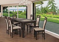 Jídelní set 22 - Stůl 150x80,6x židle (ořech černý/cayenne 5)