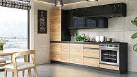 Kuchyně Brick - 280 cm (černá vysoký lesk/craft)