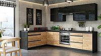 Kuchyně Brick - levý roh, 300x182 cm (černá vysoký lesk/craft)