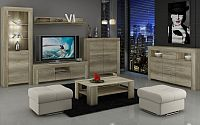 Sky - Obývací stěna, 2x komoda, RTV stolek, stolek (country šedá)