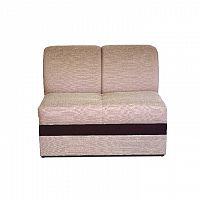 2-sed, sedačka světle hnědé barvy s čokoládovou ekokůží ROSANA