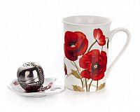 BANQUET Sada na čaj keramická RED POPPY, 3 ks, OK