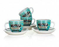 BANQUET Sada šálků s podšálkem COFFEE 180 ml, 4 ks