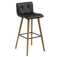Barová židle Fredy (SET 2 ks), černá kůže