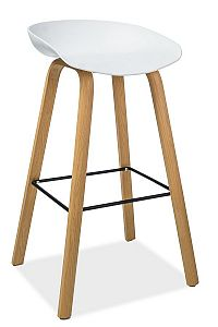 Barová židle v bílé barvě na dřevěné konstrukci v dekoru buk KN1055