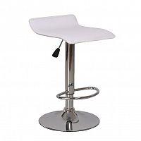 Barová židle v provedení chrom a ekokůže bílé barvy s měkkým sezením TK192