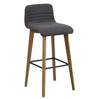 Barové židle s čalouněním z látky v barvě antracit s dřevěnou podnoží SET 2 ks DO164