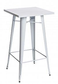 Barový kovový stůl 60x60 cm v bílé barvě DO047