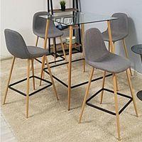 Barový set se židli v šedé barvě na dřevěné konstrukci TK3050