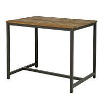Barový stůl s dřevěnou deskou 130x90 cm s černou kovovou podnoží DO204