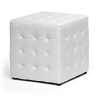 Čalouněný taburet v bílé ekokůži KN1001