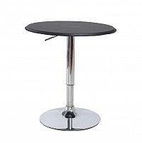 Černý barový stůl s nastavitelnou výškou chrom a černá ekokůže TK042