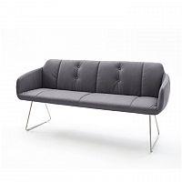 Designová lavice látka šedá chrom podnož TK3168