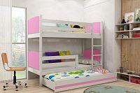Dětská patrová postel s přistýlkou v kombinaci bílé a růžové barvy F1381