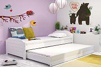 Dětská postel s přistýlkou v bílé barvě 90x200 cm F1393