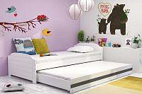 Dětská postel s přistýlkou v bílé barvě s grafit pruhem 90x200 cm F1393