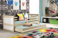 Dětská postel s přistýlkou v dekoru borovice v kombinaci s bílou barvou 90x200 cm F1133