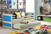 Dětská postel s přistýlkou v dekoru borovice v kombinaci s modrou barvou 90x200 cm F1133