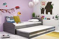 Dětská postel s přistýlkou v grafit barvě s bílým pruhem 90x200 cm F1393