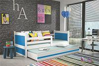 Dětská postel s přistýlkou v kombinaci bílé a modré barvy 90x200 cm F1133