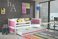 Dětská postel s přistýlkou v kombinaci bílé a růžové barvy 90x200 cm F1133