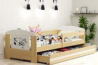 Dětská postel s úložným prostorem a matrací s motivem letadla 80x160 cm F1368