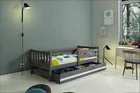 Dětská postel s úložným prostorem a matrací v grafit barvě 80x190 cm F1419