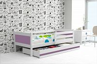 Dětská postel s úložným prostorem a matrací v kombinaci bílé a fialové barvy 80x190 cm F1366