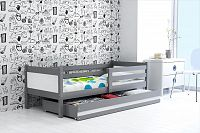 Dětská postel s úložným prostorem a matrací v kombinaci grafit a bílé barvy 80x190 cm F1366