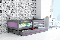 Dětská postel s úložným prostorem a matrací v kombinaci grafit a fialové barvy 80x190 cm F1366