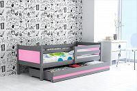 Dětská postel s úložným prostorem a matrací v kombinaci grafit a růžové barvy 80x190 cm F1366