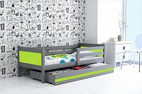 Dětská postel s úložným prostorem a matrací v kombinaci grafit a zelené barvy 80x190 cm F1366