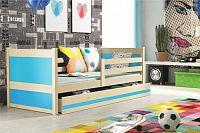 Dětská postel s úložným prostorem v dekoru borovice v kombinaci s modrou barvou 90x200 cm F1133