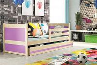 Dětská postel s úložným prostorem v dekoru borovice v kombinaci s růžovou barvou 90x200 cm F1133