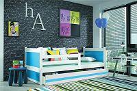 Dětská postel s úložným prostorem v kombinaci bílé a modré barvy 90x200 cm F1133
