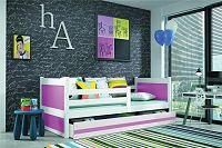 Dětská postel s úložným prostorem v kombinaci bílé a růžové barvy 90x200 cm F1133