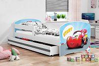 Dětská postel v bílé barvě s moderním motivem auta 80x160 F1227