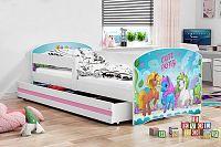 Dětská postel v bílé barvě s moderním motivem pony 80x160 cm F1227