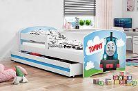 Dětská postel v bílé barvě s moderním motivem vláčku 80x160 F1227